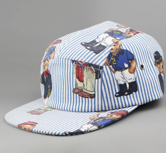 bf85ca15955 We gave fashion s most famous bear a makeover. 5 Panel caps from real Ralph  Lauren Polo Bear fabric!